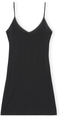 Ganni Rayon Slip Dress in Black