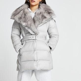 River Island Womens Petite Grey faux fur padded coat