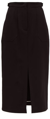 Fendi Wool-gabardine Midi Skirt - Womens - Black