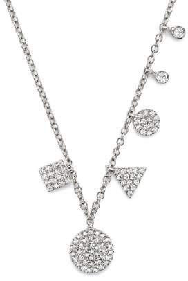 "Meira T 14K White Gold Multiple Shape Diamond Disc Necklace, 16"""