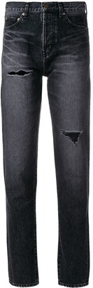 Saint Laurent distressed effect tapered jeans