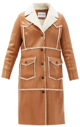 Stand Studio Adele Faux Shearling-trimmed Faux-leather Coat - Camel