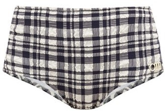 Solid & Striped The Ginger Gingham High-rise Bikini Briefs - Black White