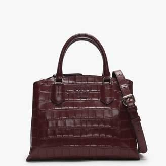 DKNY Noho Blood Red Leather Moc Croc Satchel Bag