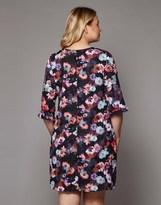 Yumi Curve Nouveau Floral Frill Trim Tunic Dress