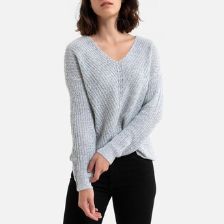 Jacqueline De Yong Chunky Knit Batwing Jumper with V-Neck