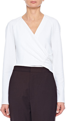 Tibi Structured Crepe V-Neck Shirred Wrap Top