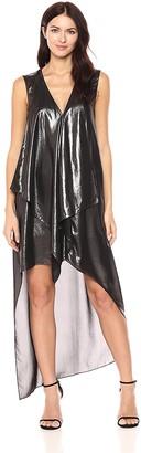 BCBGMAXAZRIA Azria Women's Tara Woven Cascade Ruffle Metallic Dress