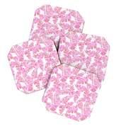 Deny Designs Schatzi Brown Lani Kai Leaf Pink Coaster Set