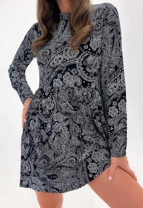 Missguided Black Paisley Long Sleeve High Neck Smock Dress