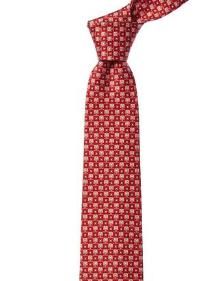 Salvatore Ferragamo Red Geometric Silk Tie