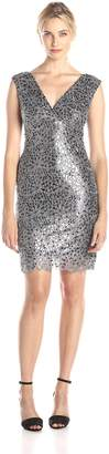 Marina Women's Cap Sleeve V Neck Sequin Lace Cocktail Dress