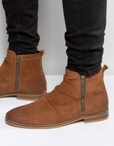 Asos Chelsea Boots In Tan Suede With Zip
