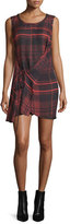 McQ Sleeveless Tied Tartan Plaid Mini Dress, Red