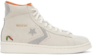 Converse Grey and Off-White Looney Tunes Edition Pro Leather High Sneakers