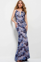 Jovani 54631 Floral Lace Fitted Evening Dress