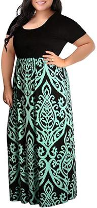 Moginp Dress Moginp 2019 Fashion Elegant Beach Dresses Plus Size Women Short Sleeve Chevron Print Long Maxi Dress for Ladies L-4XL (Green 4XL)
