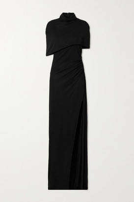 Brandon Maxwell Cape-effect Draped Stretch-jersey Gown - Black