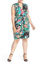 Ellen Tracy Print Jersey Faux Wrap Dress (Plus Size)