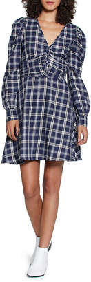 Walter Baker Nikol Ruched Metallic Plaid Tunic Dress