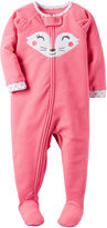 Carter's Pink Fox Fleece Pajamas - Baby Girls newborn-24m