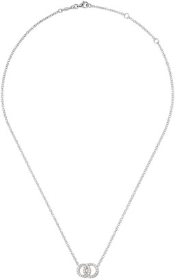 Kiki McDonough 18kt white gold Signatures interlinking diamond hoop necklace