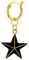 True Rocks Black Enamel & 18 Carat Gold Plated Star Earring On Gold Hoop