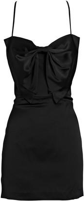Mason by Michelle Mason Bow Silk Satin Mini Dress
