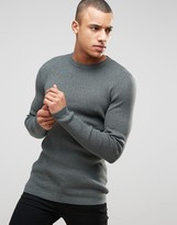 New Look Ribbed Jumper In Khaki