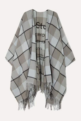 Acne Studios Cassier Fringed Printed Checked Wool Wrap - Gray