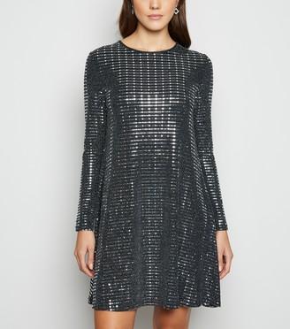 New Look Blue Vanilla Mirror Sequin Swing Dress
