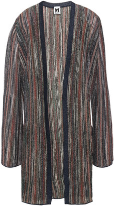 M Missoni Ribbed Metallic Striped Knitted Cardigan