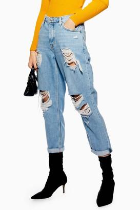 Topshop Womens Bleach Wash Super Ripped Hayden Jeans - Bleach Stone