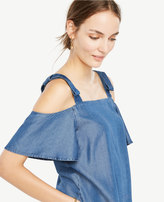 Ann Taylor Chambray Bow Cold Shoulder Blouse