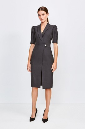 Karen Millen Polished Stretch Wool Blend Tailored Wrap Dress