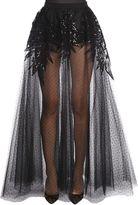 Elie Saab Swiss Dot Tulle & Macramé Skirt