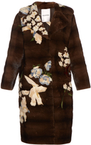 Valentino Japanese floral-intarsia mink-fur coat