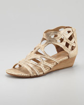 Donald J Pliner Delite Metallic Cutout Low Wedge Sandal, Gold