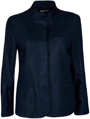 Giorgio Armani Navy Blue Linen Mandarin Collar Blazer M