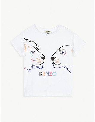 Kenzo Tiger and Friend printed cotton T-shirt 4-14 years