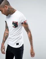 Criminal Damage T-Shirt In White With Floral Pocket