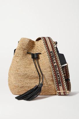 Stella McCartney Canvas And Faux Leather-trimmed Raffia Bucket Bag - Beige