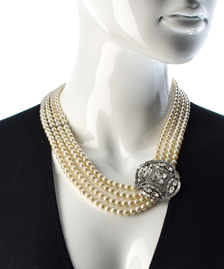 Ben-Amun Ben Amun Pearl And Crystal Brooch Pendant Necklace