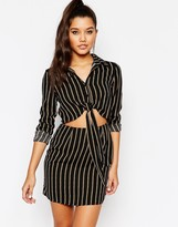 Missguided Tie Front Cut Out Stripe Shirt Dress