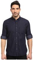 John Varvatos Slim Fit Button Down Collar Sport Shirt w/ Roll Up Sleeve and Single Chest Pocket, Short Hem Length W530S3B