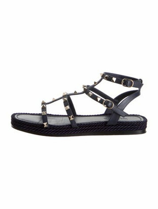 Valentino Rockstud Accents Leather Gladiator Sandals Blue