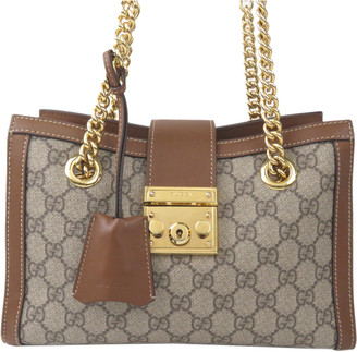 Gucci Brown GG Supreme Canvas Small Padlock Tote Bag