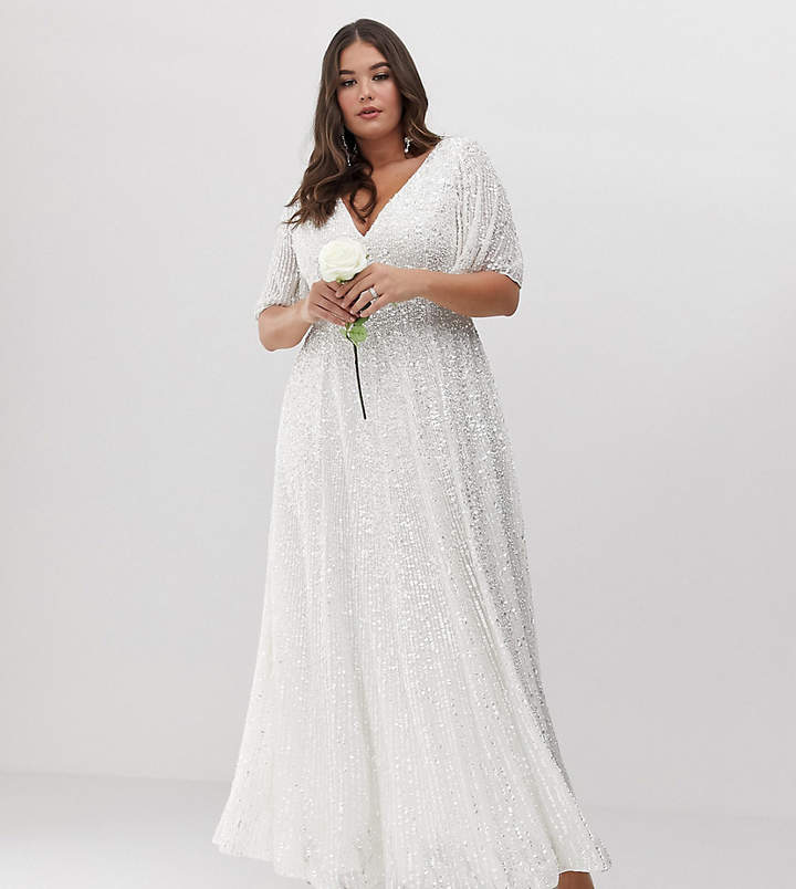 Edition EDITION Curve flutter sleeve sequin maxi wedding dress