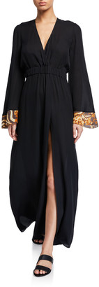 Miguelina Zaida Silk Long-Sleeve Coverup Dress