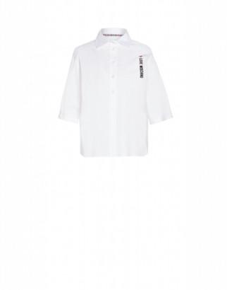 Love Moschino Stretch Poplin Shirt With Logo Woman White Size 38
